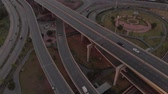 freeway interchange : Bangkok Expressway Road traffic an important infrastructure in Thailand - Aerial top view photo from flying drone Stock Footage