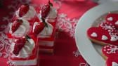 christmas recipes : Sweet cake with strawberries and cookies in the form of a heart.