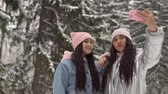 wintertime : Two young girlfriends make selfie on the background of the winter forest using a smartphone. 4K Stock Footage