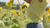 cabelos cacheados : Beautiful young girl is dancing beautifully while standing in a field with sunflowers. slow motion