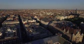 unutulmayan : Flying above roofs of wonderful Budapest city. Aerial footages of Budapest city in day and sunset time. Stok Video