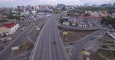 junção : Aerial view of two-level road junction in the big city. Vídeos
