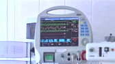 readout : Hospital Icu Monitor at reanimation department of heart surgery clinic. monitor displays patient vital signs Stock Footage