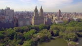 upper east side : The Eldorado twin-towered luxury housing cooperatives near Central Park. Flying in New York city