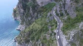 tunel : Aerial view. Cars driving on mountain road. Italy.