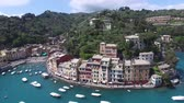 Aerial. View Of The Harbour Of Portofino. Famous Italian town.