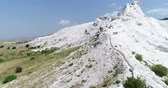 pamukkale : Aerial. Pamukkale terraces or cotton Castle. Brilliantly white calcium cliff. Turkey. 4K.