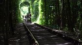 Tourists walk along the railroad in the tunnel of love. Popular landmark, Ukraine. Стоковые видеозаписи