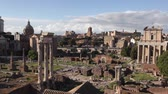 Archaeological Area of ??the Palatine, panoramic view with the left three columns of the Temple of the Dioscuri. In the center, the Temple of Divo Giulio, to the right, the Temple of Antonino and Faustina.