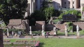 Rome, Italy - May 7, 2017: Archaeological Area of ??the Palatine, House of the Vestals, in the center, with vestal statues (Atrium Vestae).