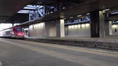 Rome, Italy - May 16, 2017: The high speed passenger train, part of Termini railway station, to Milan. Stok Video