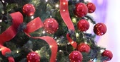 hue : Christmas lights, decoration, lights, ribbons and red Christmas tree baubles. Decorations, ornate tree.