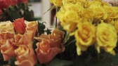 virág feje : Close up shot of a beautiful roses of different sorts in a flower shop. They are blooming indoor.