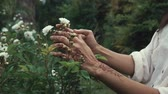 sauvage : Close up shot of woman touching and enjoying wild flowers in a forest. Woman with exotic white flowers outdoor in nature. Henna art. Vidéos Libres De Droits
