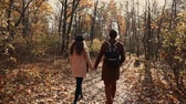 szerelmesek : Couple of man and woman are strolling together in fall forest in sunny day. They are holding hands and chatting cheerfully, back view