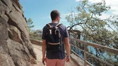 cestování : Tourist man is strolling on mountain in summer day, back view. He is admiring nature and looking around, carrying his backpack