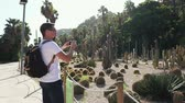 kaktüs : Shot from behind of a man spending quality time on vacation in cactus park, looking at exotic plants and taking pics on smartphone. Tourist on Europe trip in Barcelona.