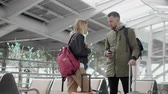 spouses : Male and female travelers are communicating in hall of airport, holding suitcase Stock Footage