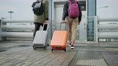 both : Back view of walking passengers with suitcases, approaching to lift Stock Footage