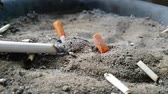 koçan : Cigarette burning in outdoors ashtray with sand closeup 4k Stok Video