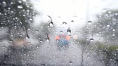 Water drops steam of rain on car windshield window glass after the rain Dostupné videozáznamy