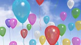 field : Fancy balloons floating to the sky with alpha, depth