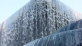 Big fountain in park, water flow falling down into water making foam in fountain slow motion full HD, 1080p. Stok Video