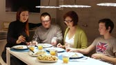 cheese piece : Family enjoying a meal, food pizza meal togetherness concept.