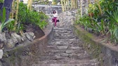 kamboçyalı : The woman descends the stone stairs in the Buddhist temple