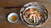 sashimi : Dish in restaurant Marinated lotus bud with shrimps and pork salad