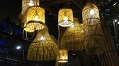 Thai traditional lamp made from bamboo Stok Video
