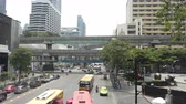 BANGKOK - MARCH 26. Business congested traffic on March 26, 2018 in Bangkok downtown, Thailand. About half of the taxi fleet in Bangkok runs on alternative fuel such as CNG. Stok Video