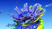 радужный : 3d fractal for kids. Floral rainbow background for child. Abstract flower in sky or coral underwater world in art for happy childhood. Стоковые видеозаписи