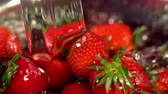 soft fruits : Strawberry with leaves close up under running jets of water move in a circle. Washing eco clean fruits before eating in colander. Crop of picked freshly red berry.