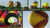 kolaj : Montage of hot air balloons taking flight during competition, as crowds of people watch. Stok Video