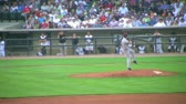 DAYTON - AUGUST 2: Pitcher (name withheld) delivers ball during regular season baseball game August 2, 2007 in Dayton, OH. Stock Footage