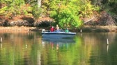 pescador : WAYNESVILLE - SEPTEMBER 8: Men (names withheld) from Waynesville, OH enjoy fishing at Caesar Creek State Park September 8, 2007 in Waynesville, OH. Stock Footage