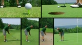 Golf montage of player putting on green and teeing off with driver.
