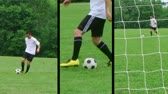 Montage of male teenage soccer player dribbling ball and kicking score. Stock Footage