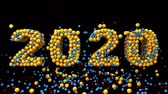 noel kartı : 2020 New Year motion graphics video footage, Bubbles ball text animation render with Rainbow and colorful, 3D CGI Compositing process, 4k Ultra HD 3840x2160, RGB with Alpha and Green screen.