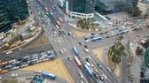 hurried concept : Time lapse traffic at Gangnam in Seoul, South Korea.4K Stock Footage