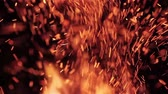 ignite : Extreme close up of fire sparks moving on dark night sky at black background coming from brightly burning warm outdoors bonfire in forest