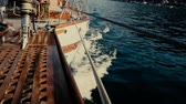 paluba : Inside the yacht in motion slow motion