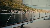 regata : Inside the sailing yacht on the move Mediteranean sea. Stock Footage