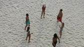 voleibol : A group of young people playing volleyball on the beach