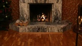 lareira : Fireplace during holiday Stock Footage