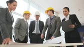 corporation : Businesswoman brings project to architects discuss it Stock Footage