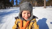 playful : A little boy driving in a sledge