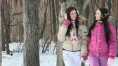 irmã : Two girls walking through the winter forest Stock Footage