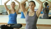 meditativo : Yoga instructor doing breathing exercise in a lotus pose, the other girl following